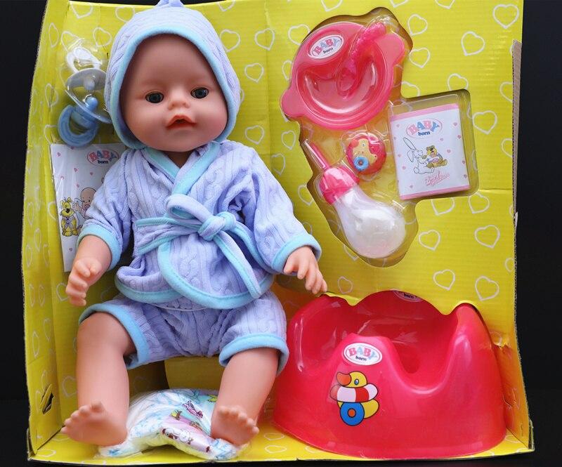 [Nouveau] 35 cm russie nouveau-né bébé poupée peut clignoter pleurer boisson lait hurlant pipi doux Reborn peignoir bébé poupées modèle fille cadeau