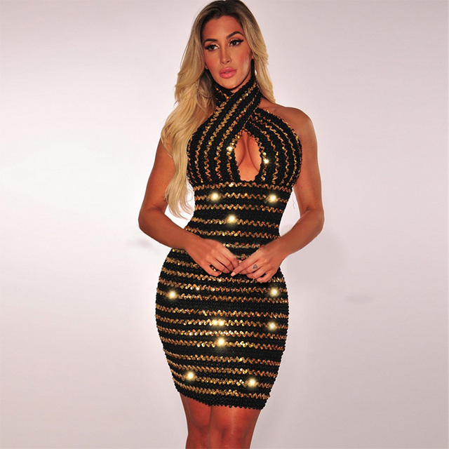 5e7dacd56b3 Black Gold Halter Dress Hollow out Summer Sexy Party Top Cross Dress  Sleeveless Lady Nightclub Clubwear Bodycon Mini Dresses