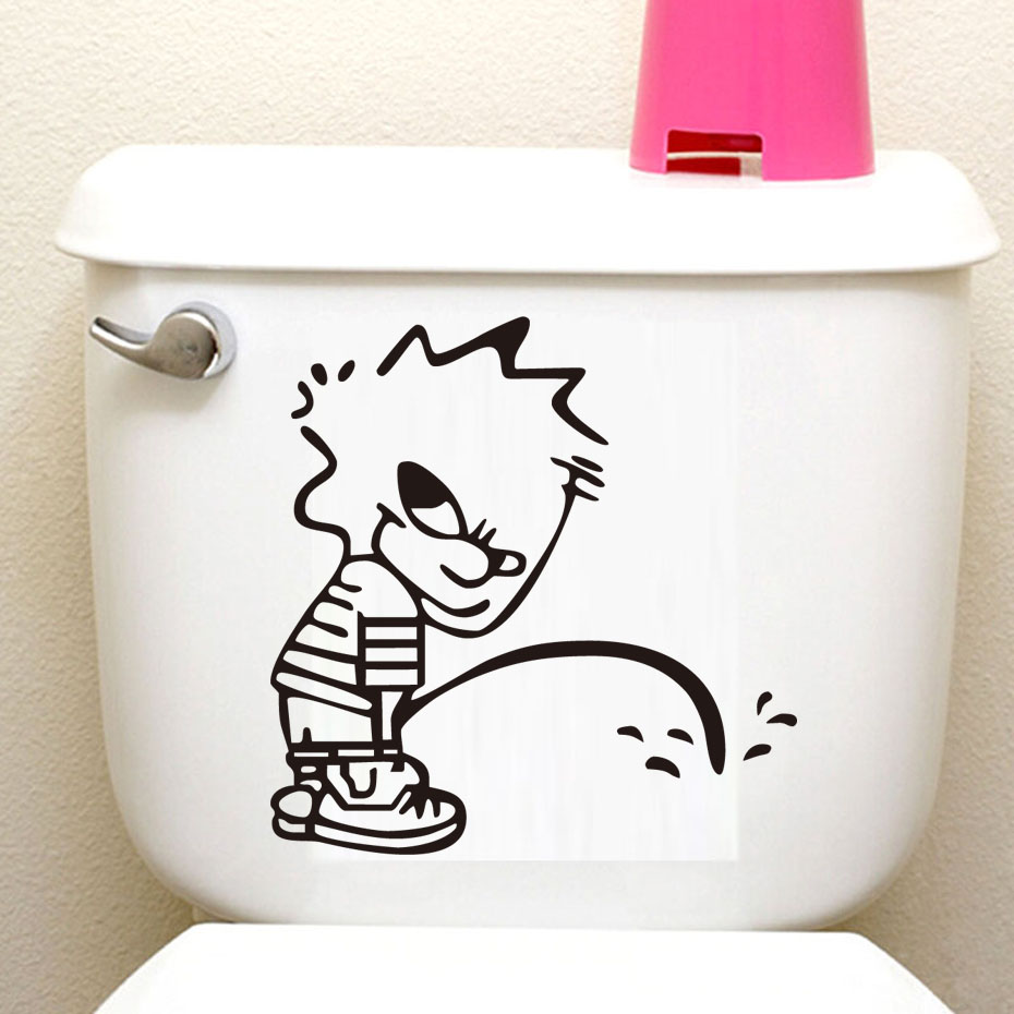 Funny Kid Is Peeing Toilet Stickers Creative Bathroom Decals Vinyl adesivos de parades Removable Waterproof Poster Wallpaper