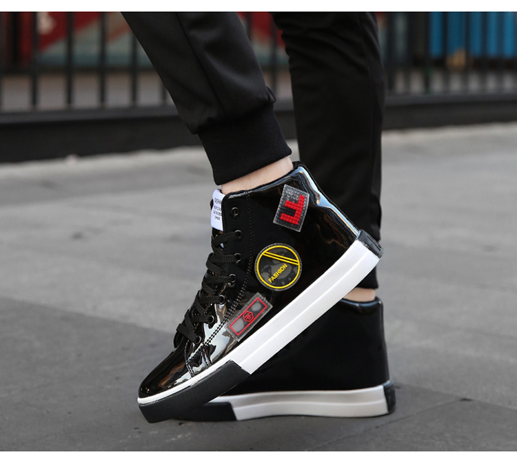 2018 Men leather casual shoes hip hop Gold fashion sneakers silver microfiber high tops Male Vulcanized shoes sizes 46 9