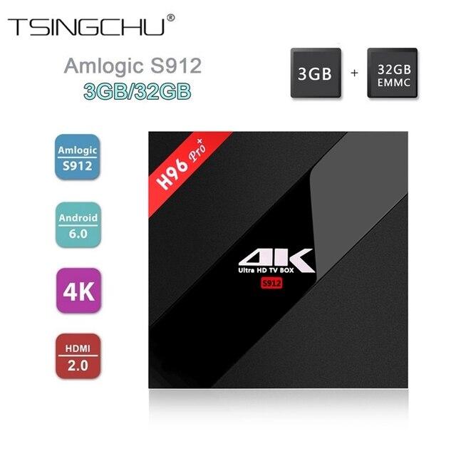 [Genuine] 3 GB + 32 GB Android 6.0 H96 Pro PLUS TV BOX Amlogic S912 64bit Octa Núcleo WiFi 2.4G/5.8G BT4.1 KODI H.265 16.1 H.265 4 K HDR