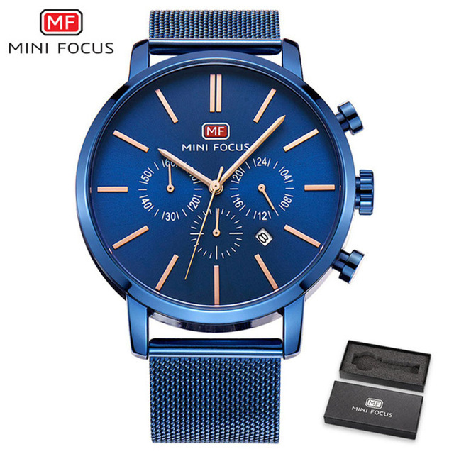 Top Brand Luxury Chronograph Men Sports Watches Stainless Steel Quartz Watch Men Army Military Wrist Watch Male MINI FOCUS Clock stainless steel men chronograph watches luxury brand sport waterproof quartz watch men military wrist watch army men clock reloj