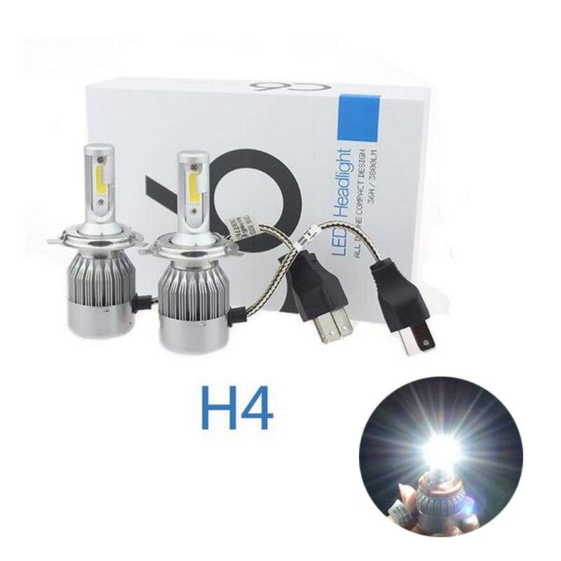 2PCS 2017 New Design High Power LED 72W 7600LM 6000k Super White Bulbs C6 H4 Led Headlight For Fog Lights Driving Lamps