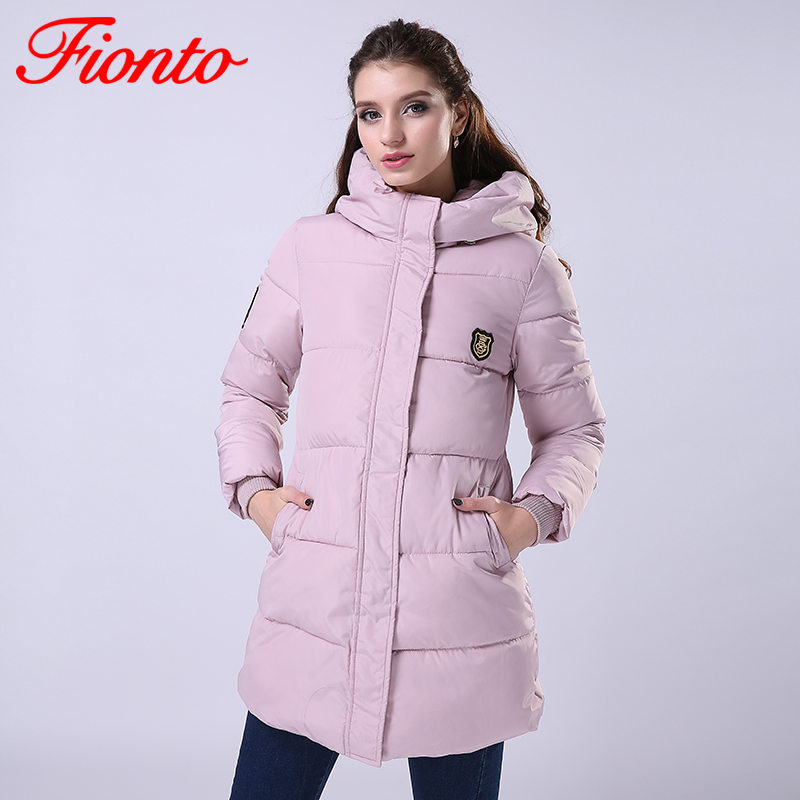 FIONTO 2017 New Fashion Long Winter Jacket Women Slim ...