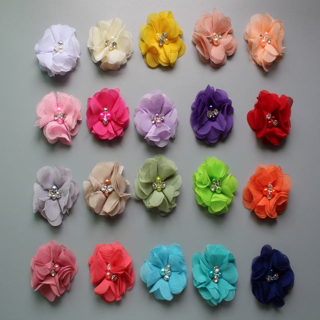 5cm  fabric chiffon charms flowers with crystal & pearl girl hair accessories 30pcs/lot freeshipping
