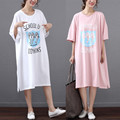 New Arrive Summer Ladies' Plus-size Long T-shirt Women's Leisure Joker Long Cotton T-shirt Dress