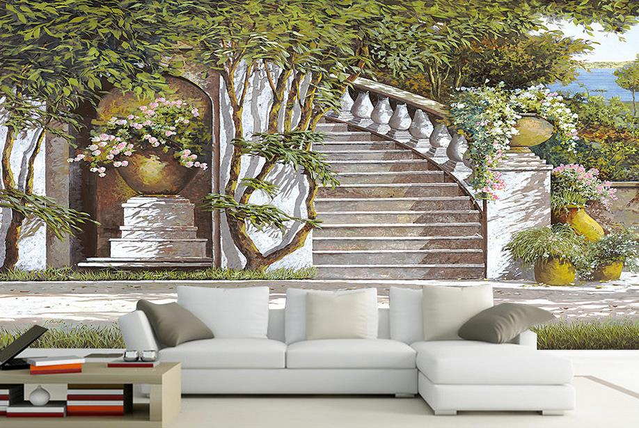 luxury wallpaper customize 3d photo wallpaper room mural Mediterranean garden wall paper 3d mural wallpaper for walls customize wallpaper for walls 3 d swan lake picture in picture 3d tv backdrop 3d photo wall mural 3d landscape wallpaper