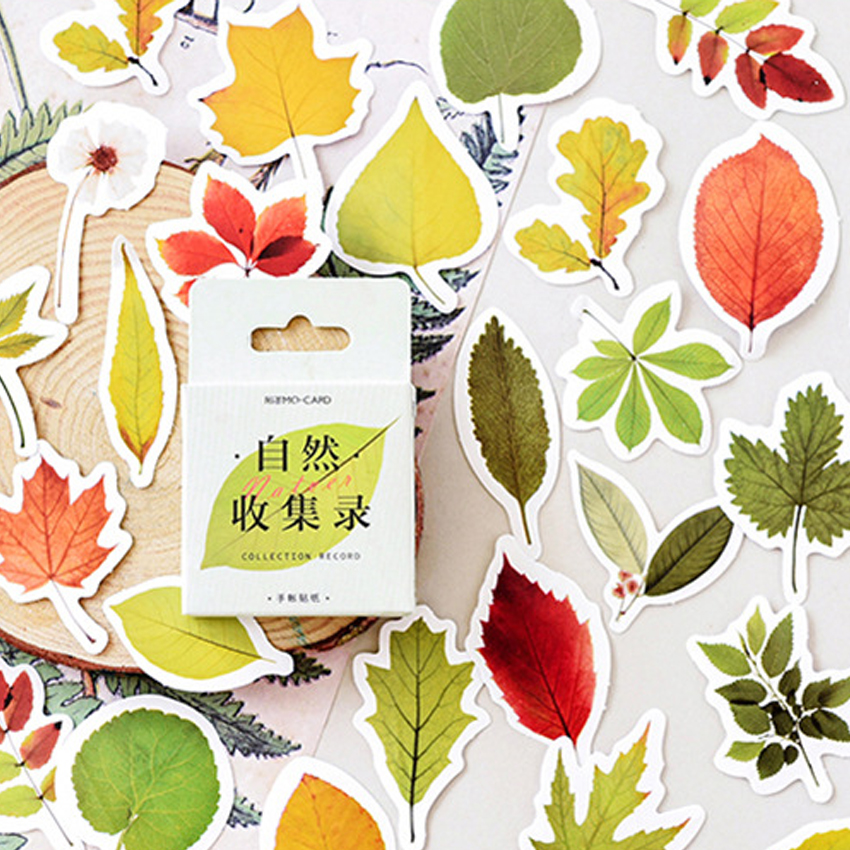 46pcs/box Cute Natural Collection Fresh Plant Mini Paper Diary Label Sealing Scrapbooking Decoration DIY Stickers