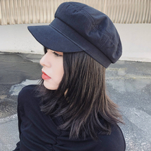 купить HT2332 Berets Spring Summer Men Women Cap Hat Vintage Artist Painter Sailor Captain Beret Cap Solid Plain Cotton Flat Newboy Cap по цене 663.04 рублей