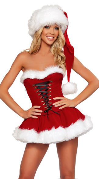 Free Shipping Sweetheart Miss Santa Sexy Adult Women Christmas Costume
