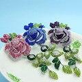 Muito Bem Violetta Rosa Flor Broches de Casamento Para As Mulheres Liga de Metal Esmalte Broches Bouquet Pinos Broche Melhor presente de Natal Bijoux
