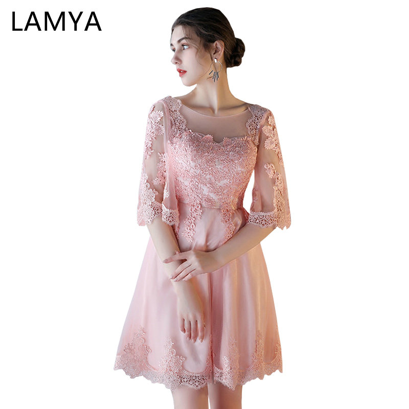 LAMYA Elegant   Prom     Dress   With Half Lace Sleeve 2018 Plus Size Short A Line Evening Party   Dresses   Sexy Special Occasion Gowns