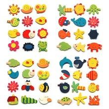 12 шт./лот, красочные деревянные Мультяшные наклейки на холодильник с животными, деревянные магниты на холодильник с героями мультфильмов, Скидка 40