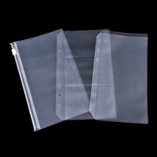A5% 2FA6 ПВХ прозрачный молния замок конверт скоросшиватель карман пополнение органайзер канцелярские товары для 6 отверстий