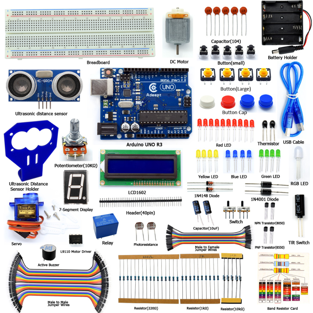 Adeept DIY Electric Arduino Starter kit for Arduino UNO R3 Ultrasonic Distance Sensor with Guidebook Freeshipping Book diykit adeept diy electric new project lcd1602 starter kit for arduino uno r3 mega 2560 pdf free shipping book headphones diy diykit