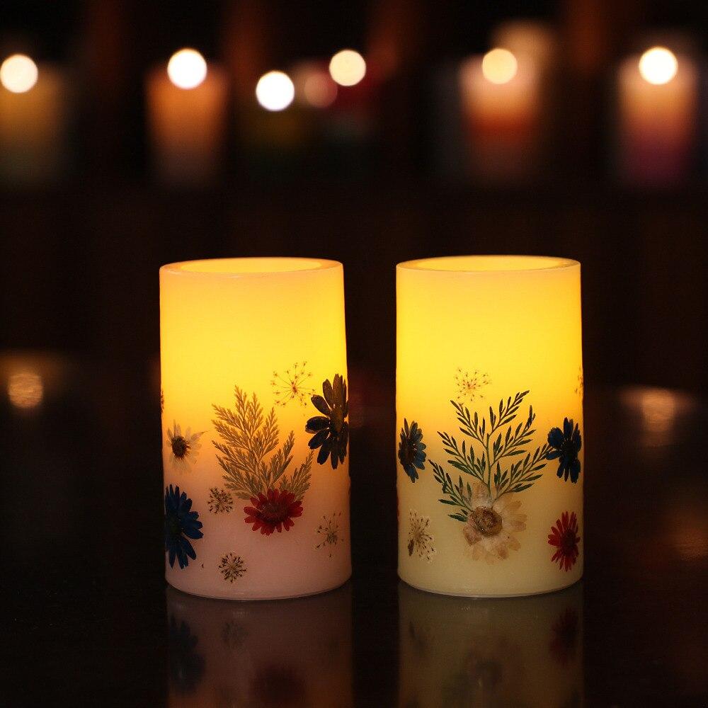 GiveU Vanilla Vonné svíčky LED, ručně vyrobené reliéfní květiny 4 a 8 hodin časovač pro plení domů dekorace k narozeninám