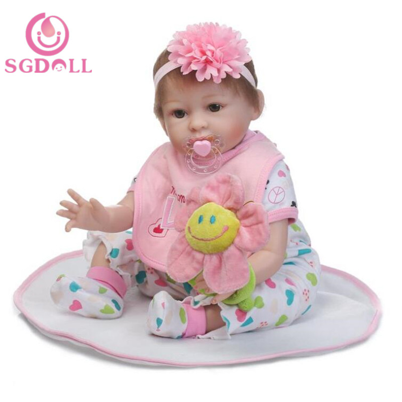 55cm/22Handmade Lifelike Baby Girl Doll Silicone Vinyl Reborn Newborn Pink Head 7041942 pink wool coat doll clothes with belt for 18 american girl doll