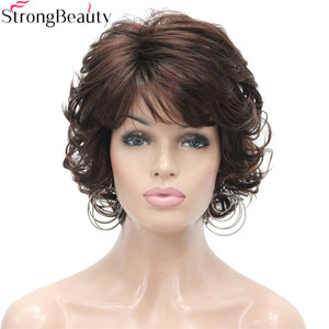 Image 4 - Strong Beauty Synthetic Wigs Womens Curly Ends Short Fiber Wig With Layered Bangs 17 Colors