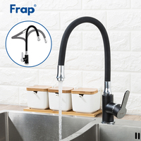 Frap 1 Set Black Silica Gel Nose Any Direction Kitchen Sink Faucet Cold and Hot Water Mixer Water Tap Faucet Flexible Hose F4042