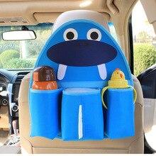 Oxford Cartoon Car Organizer For Kids Water Bottle Tissue Pocket