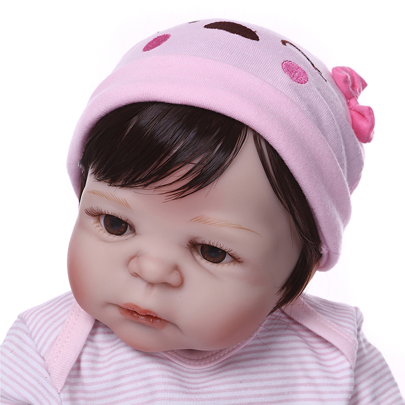 Nicery 22inch 55cm Bebe Reborn Doll Hard Silicone Boy Girl Toy Reborn Baby Doll Gift for Child Pink Sleeping Basket Bady Doll-in Dolls from Toys & Hobbies    3