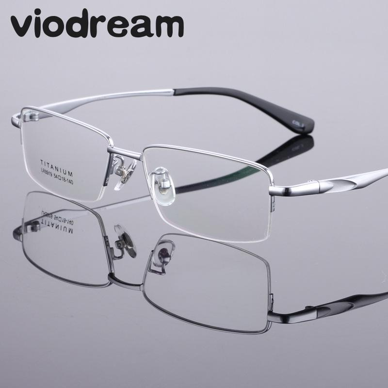 Men's Glasses Nice Pure Titanium Glasses Frames For Men Half Rim Silver Sport Style