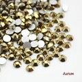 Hematite oro 3D Nail Art Rhinestones del Hotfix del Flatback no Para Uñas Decoración SS3-SS30 (288-1440 unids) Para Accesorios de la ropa