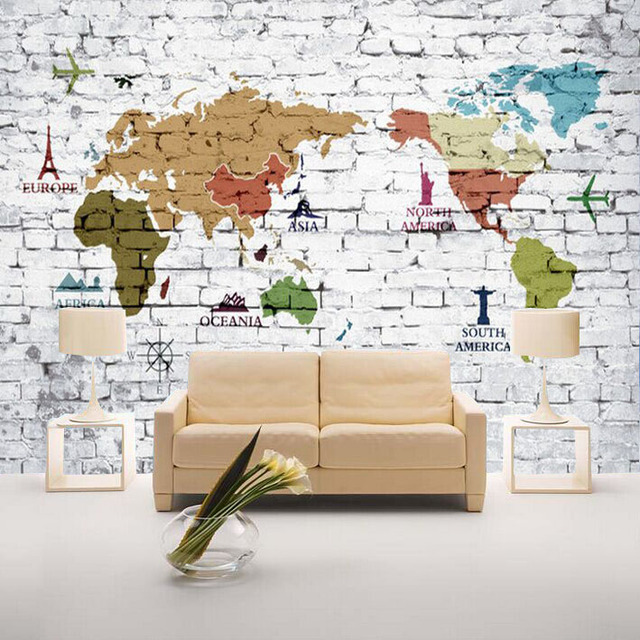 HD Vintage 3d Bricks Wallpaper Of World Map Papel 5d Wall Mural For Living  Room Sofa
