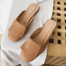 Moxxy 2019 New Elegant Leather Flat Mules Women Shoes Casual Closed Toe Low Heel Sandals Ladies Outdoor Slippers Women Slides