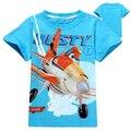 Retail 2016 muchachos de los cabritos camiseta de Dibujos Animados avión nuevo verano de los niños camiseta de los niños muchachas de la historieta del bebé de manga corta de Envío gratis