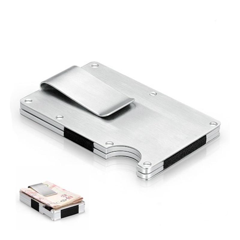 EDC Metal Money Clip Ultra-thin Outdoor Portable Multi-function High Capacity Card Clip Pocket Unisex's Folder Wallet Tool Black
