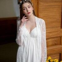 Free Shipping Princess Lace Nightgown Sexy Condole Women Spring Gown Night Dress Robe Set Womens Sleepwear 1812189