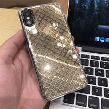 Tfshining Bling Glitter Phone Case For iphone X XR XS Max 6 6s 7 8 Plus Mermaid Fish Scales Powder Hard Back Cover Coque Gift