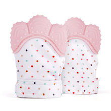 Baby Teething Mitten,Self-Soothing Pain Relief Hand Glove Teether,Baby Silicone Teether Mitten Toy BPA Free easy wash