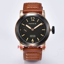43mm Parnis Men Watch Brands Hand Winding Mechanical Watch Top Grade Sapphire Crystal Black Gold Mens Military Sports Watches