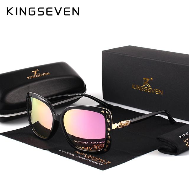 KINGSEVEN 2017 New Women Fashion Brand Designer Oval Sunglasses Butterfly Frame Summer Gradient Lens Sun glasses Retro K7215