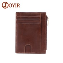JOYIR New Genuine Leather Men's Credit Card Holder Vintage Men's Wallet ID Card Business Card Holder Men Women Coin Purse 2017 genuine leather women men id card holder coin purse card wallet credit card business card holder protector organizer hb43