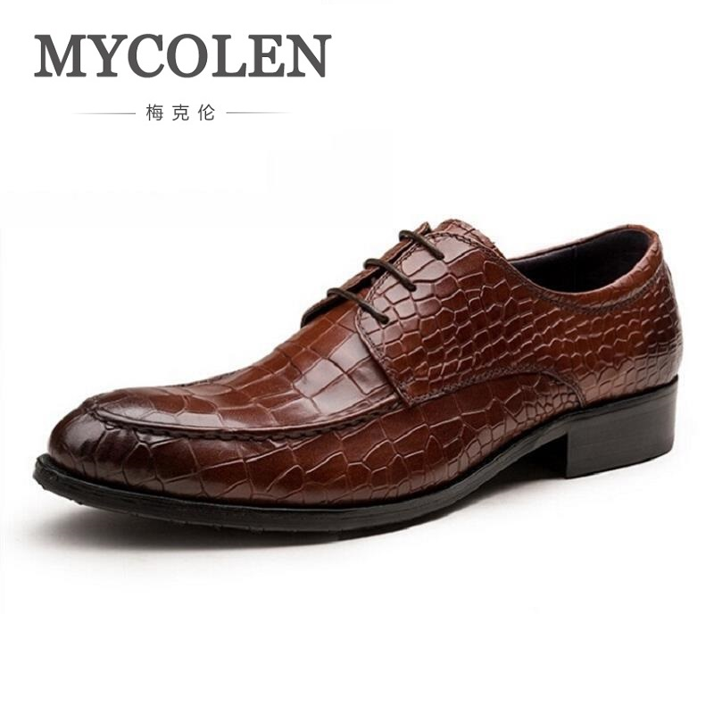 все цены на MYCOLEN 2018 New Arrival Formal Men Pointed Toe Men Dress Shoes Crocodile Leather High Quality Men Leather Shoes Zapatos Hombre