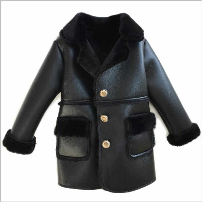 Winter Children Faux Leather Suede Coat Black PU Leather Jacket Lambs Wool Fur Collar Long Jackets Shearling Coats 90-150cm QV25