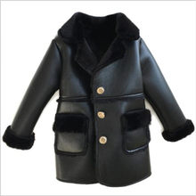 Winter Children Faux Leather Suede Coat Black PU Leather Jacket Lambs Wool Fur Collar Long Jackets Shearling Coats 90-150cm QV25(China)