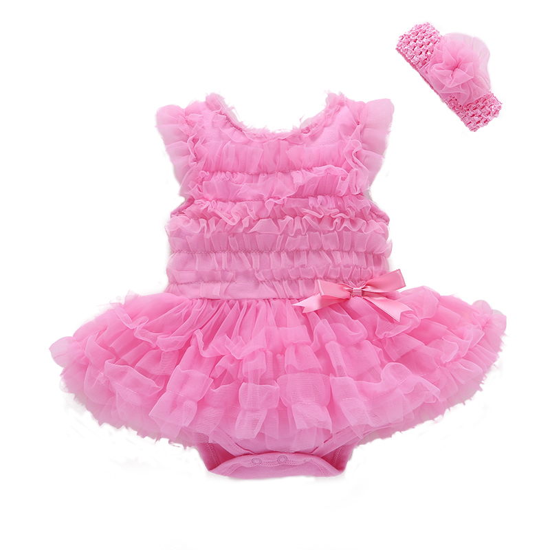 d0c5f2e22a4c Best buy 2Pcs set Summer Dresses Rose Red Net Yarn Cotton Sleeveless  Bodysuit Baby Gril + Headband Jumpsuit Baby Gril Clothing Sets V20 online  cheap