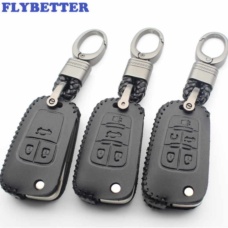 Key Case For Car Flybetter Genuine Leather 2/3/4/5button Flip Key Case Cover For Chevrolet Aveo/lova/cruze/camaro/malibu Car Styling L380