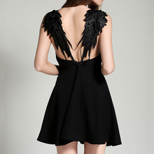 Ukraine Women Summer dress Gothic vestidos de festa embroidery Angel's wings Backless dress Black White Sexy Party Club dress XL