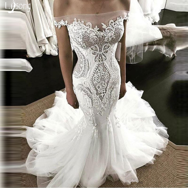 Mermaid Wedding Dress with Train Bridal Formal Maxi Gowns fro Dark Skin  Vestidos Noiva Sheath Chic Custom Made Wedding Dresses 418b69163507