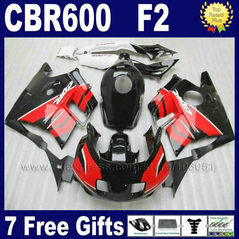 ABS plastic factory fairing kits for Honda red black 91 92 93 94 CBR 600 F2 CBR600 F CBR600 F2 1992 1993 1991 1994 fairng sets