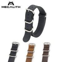 MEGALITH 18mm 20mm 22mm Top ziarna prawdziwej skóry zegarek pasek wojskowy sport skórzane zegarki zespoły dla mężczyzn kobiety pasek w barwach nato G3