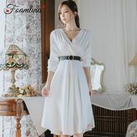 Foamlina White Dress Women Autumn Flare Dress 2018 Sexy V Neck Long Sleeve Wrinkle Tunic A Line Big Swing Midi Vintage Dress