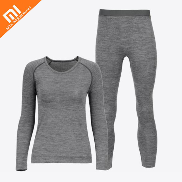 Original xiaomi mijia Proease wool coffee carbon thermal underwear men and women models round neck winter thermal underwear