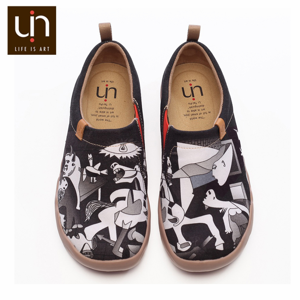 UIN Art Painted Canvas Shoes for Men Casual Black Shoes Slip on Fashion Loafer Comfort Walking Shoes Lightweight & Soft Sneakers-in Men's Casual Shoes from Shoes    1