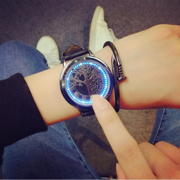 LED Touch Screen Watch Unique Cool Watch with Tree Pattern Simple Black Dial 60 Blue Lights Watch Soft Black Leather Watches makibes touch screen led watch with red light rectangle dial